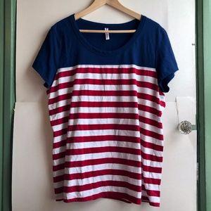 3/$30 Navy Blue Red White Stripe American Flag Tee